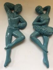 Chalkware Wall Plaques Vintage Ballerina Man Woman Pair of Dancers Turquoise