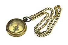 Brass Direction Compass LOCKET COMPASS WITH LONG CHAIN.