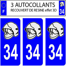 3 sticker plaque immatriculation auto DOMING 3D RESINE CASQUE POMPIER DEPARTE 34