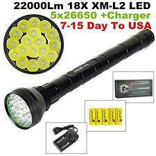 TrustFire 22000LM 18x XM-L2 LED TACTICAL Flashlight Torch Lamps+5x26650 +Charger