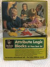 Invicta Attribute Logic Blocks 60 Pc Desk Set Plastic Case In Box MINT Books Inc