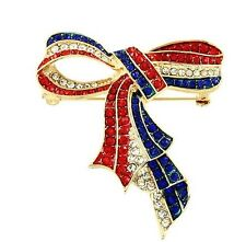 PATRIOTIC 4TH OF JULY RED WHITE BLUE RHINESTONE GOLD TONE RIBBON BROOCH PENDANT