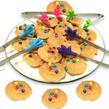 4 Pack Mini Silicone Hand Shape Tongs For Muffins Pancakes Cookies Chocolate New