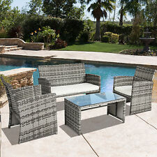 BCP Outdoor Garden Patio 4pc Cushioned Seat Mix Gray Wicker Sofa Furniture Set