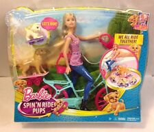 """NEW Barbie Spin N Ride Pups Dog Bicycle 12"""" Doll Great Puppy Adventure Movie Toy"""