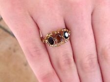 WOW GEORGIAN ANTIQUE MANDARIN & ALMANDINE GARNETS 9 ct GOLD IN MEMORIAM  RING