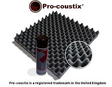 Genuine Pro-coustix High Quality Acoustic foam tiles 24 panels + Spray adhesive