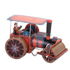 Vintage Wind Up Steam ROAD ROLLER Tractor w. driver TIN TOY Clockwork Retro gift