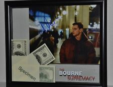 Bourne Supremacy SCREEN USED MONEY Matt Damon Singed Autograph COA Framed Prop