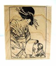 """Rubber Stamp Geisha Japanese Woman w Scroll 3.75"""" x 3.25"""" l995 Retired"""