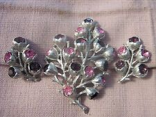 "Sarah Coventry Demi~Brooch/Earring Set~ ""Wisteria"" ~1962 ~Pink/Purple Rhinestone"