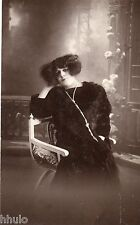 BE103 Carte Photo vintage card RPPC Femme woman mode fashion Hair cheveux noir