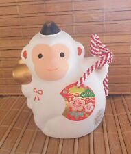 NIB JAPANESE NEW YEAR OF THE MONKEY SARU 2016 CERAMIC LUCKY FIGURINE BELL #43