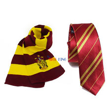 2pcs Harry Potter Gryffindor Scarf + Tie Set Halloween Costume Cosplay Xmas Gift