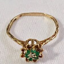Natural Emerald and Diamond Victorian Style 10K Yellow Gold Ring Size 7 1/4