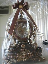 Beautiful Decorative LISHENG  Hand-Painted Desk Clock - Brown & Gold