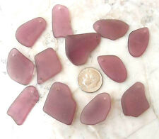 BWT- 6pc Med PURPLE Top Drilled Tumbled Cultured Sea Glass Sg137/6 Jewelry Charm