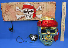 Gold Pirates of the Caribbean Skeleton Mask Eye Patch Pirate Wall Plaque Hooks