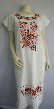 Vintage 70s Mexican Dress Embroidered Boho Hippie Caftan Wedding Oaxacan Peacock