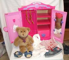 Build A Bear Beararmoire Fashion Case Closet Wardrobe Armoire + Bear + Sandals