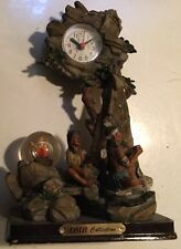 """Native American Indian Collectible Clock 10 X 6"""" Unique Battery Op  Time Piece"""