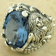 MERMAID RING SIM AQUAMARINE 925 STERLING SILVER ANTIQUE STYLE SIZE 8,       #912