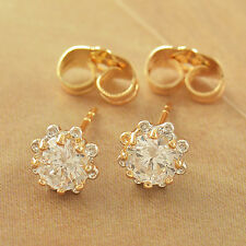 Kids 2-Tone Gold Filled Clear Crystal Tiny Flower Stud Earrings For Womens Girls