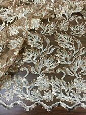 "GOLD SEQUINS EMBROIDERY MESH LACE FABRIC 50"" WiIDE 1 YARD"