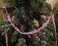 Hand Crochet White on Pink Beaded Christmas Garland 9'