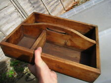 Old Pine Cutlery Tray Wooden Utensil Holder Storage Tools Farmhouse Retro
