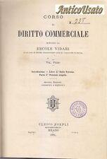 CORSO DI DIRITTO COMMERCIALE Ercole Vidari 7 VOLUMI 1879 1887 Hoepli MANCA 6 7
