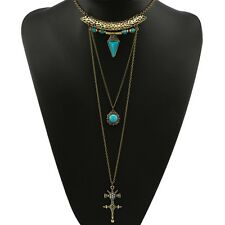 BOHO GYPSY VINTAGE BEACH HOLIDAY GOLD TURQUOISE STONES  TASSLES NECKLACE NG12