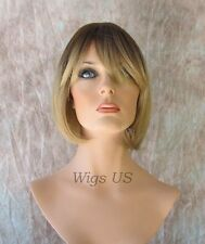 Short Wig Bob Bangs Skin Part Dark Roots Medium Blonde Ends Wigs US Seller