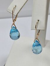 Natural Blue Topaz Dangle Earrings Solid 14kt Yellow Gold