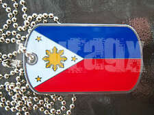 Lot of 2 Philippines Dog Tag Filipino Flag + Ball Chain