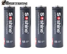 4pcs Soshine 700mAh 3.2V AA /14500 LiFePO4 rechargable Batteries for flashlight