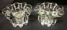 "GLASS CANDLE HOLDERS KIG 2 Clear Bubble Tulip Taper Design 2"" Tall Indonesia"