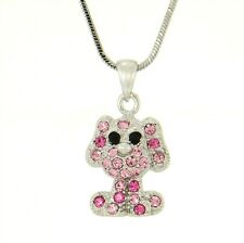 "DOG W Swarovski Crystal Pink Puppy Pet Pendant Necklace Gift 18"" Chain"