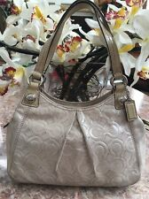 COACH MIA EMBOSSED LEATHER BEIGE METALLIC MINI MAGGIE BAG 44300 EUC