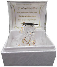 Graduation Gift Keepsake  Crystal Teddy with Poem box Graduation Present
