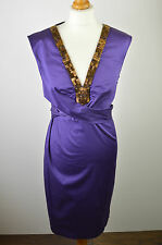 Beautiful women's Ted Baker dark purple sleeveless pencil summer dress medium 3