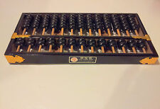 VINTAGE Wood Black w/ Gold Accents ABACUS LOTUS FLOWER Brand - Made in CHINA