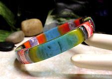 Vintage SOBRAL Multi-Color Laminated Lucite Bangle Bracelet -MINT!