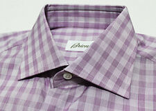 $625 Italy BRIONI Lilac Purple Fine-Cotton Micro-Checks Dress Shirt 38 15
