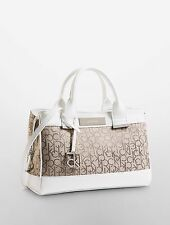 Calvin Klein Logo Jacquard City Center Zip Carryall Bag Natural With White