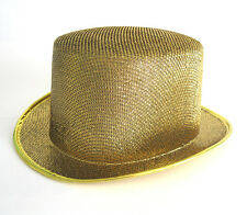 Deluxe Gold Glitter Top Hat Sexy Columbia Cap Adult Halloween Costume Hat