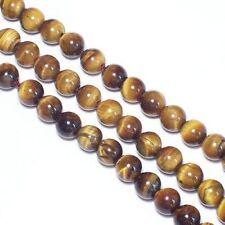 2 Fil Oeil de Tigre 8mm Ronde Perles