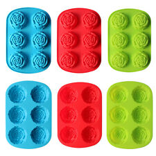 6 Cavity Rose Soap Cake Mooncake Mold Silicone Candy Chocolate Mould Decor Tool