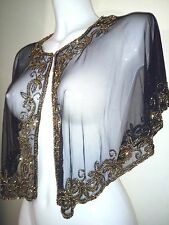 NEW GOLD SEQUIN PONCHO CROP TOP WEDDING FLORAL SHRUG NIGHT PARTY  BOLERO SMART