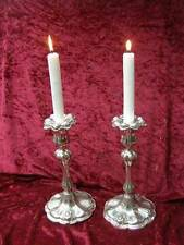 Pair English Antique Large Silver Plated Candle Sticks Candlesticks Art Nouveau